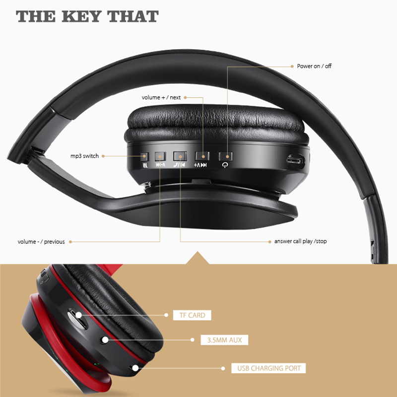 Tourya BH7 Wireless Headphones Bluetooth Headphone Glowing Headset With Mic LED Light Support TF Card For PC mobile phone xiaomi 5