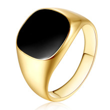 2017 Brand Design Smooth Mens Boys Black Gold Silver Tone Stainless Steel Signet Rings Black CZ Wholesale Jewelry US Size 7-12