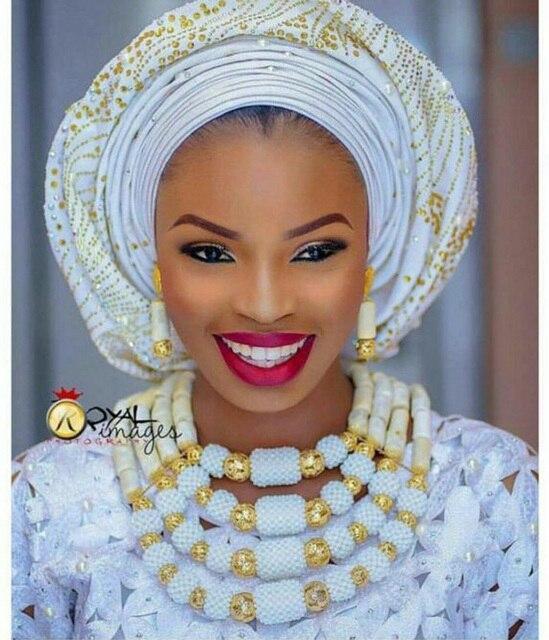 Marvelous Nigeria Truyền Thống Wedding Coral Hạt Jewelry Đặt Phi Cô Dâu Ấn Độ Hạt Necklace Set Miễn Phí Vận Chuyển CNR659