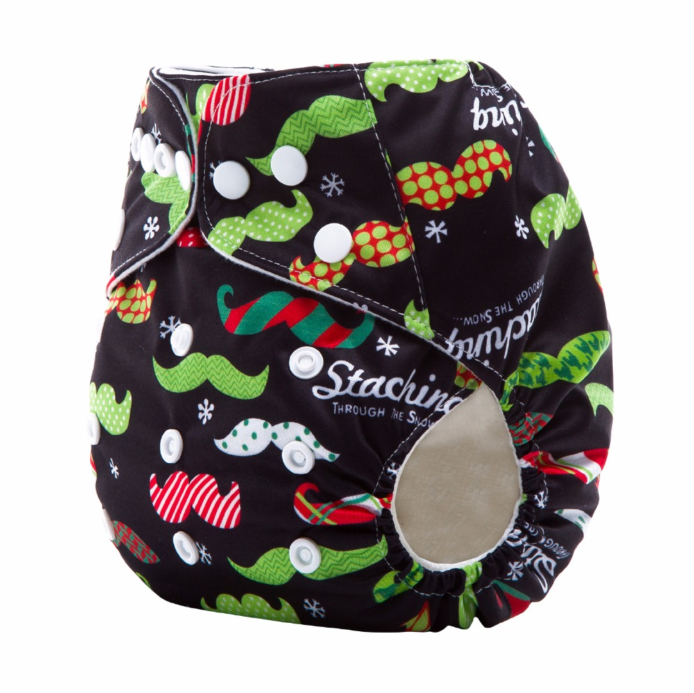 AnAnBaby XAMS Holiday Mustache Prints Cloth Washable Baby Cloth Diaper Cover Waterproof Baby Diapers Reusable Cloth Nappies