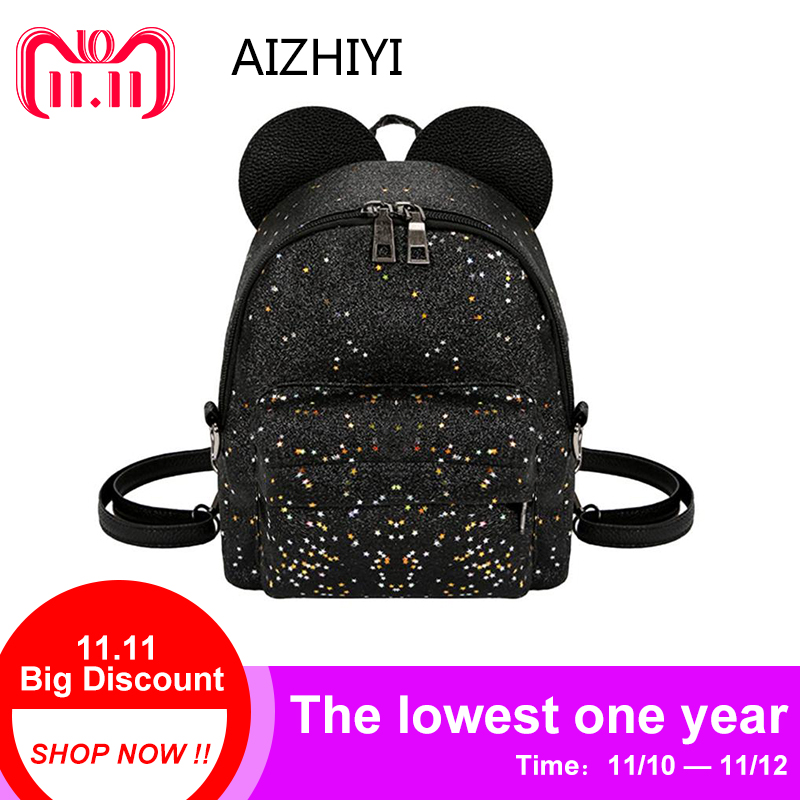 abfaf997ef8c Shining Sequins Women Cute Small Backpacks PU Leather School Bags Girls  Princess Shoulder Bag 2018 New Fashion Female Backpack