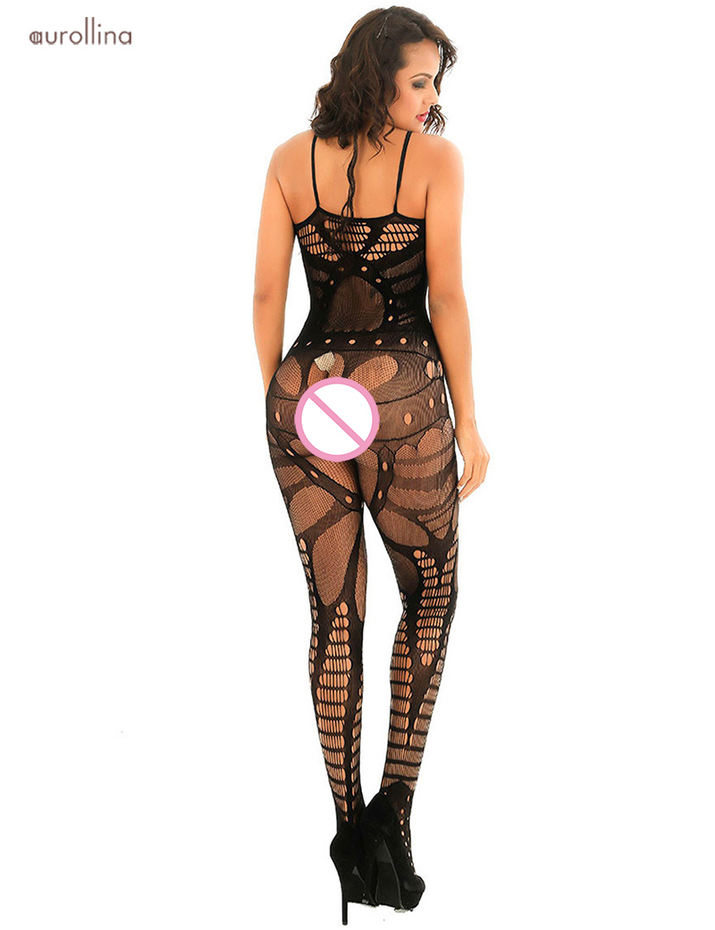Sexy Nightie Lingerie Open Crotch Hollow Out MILF Sulty Bodystocking Dress (5)