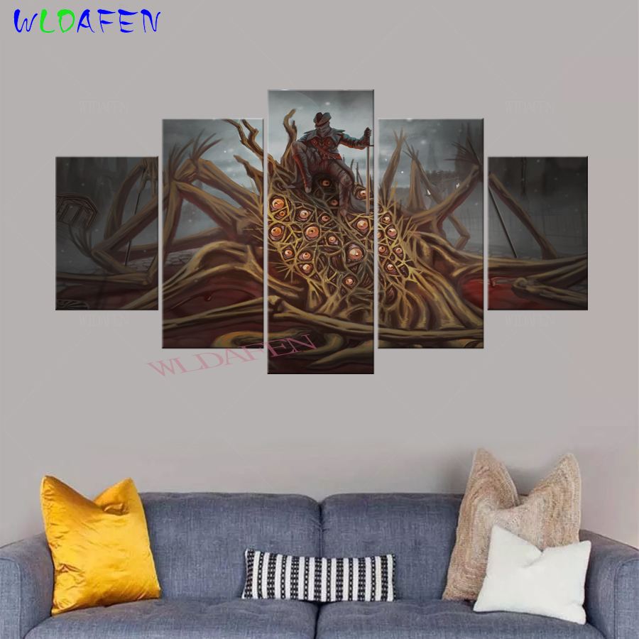 Modular Canvas Wall Art Abstract Pictures Home Decor 5 Pieces-Bloodborne Paintings HD Printed Game Hunter Posters Frame A739
