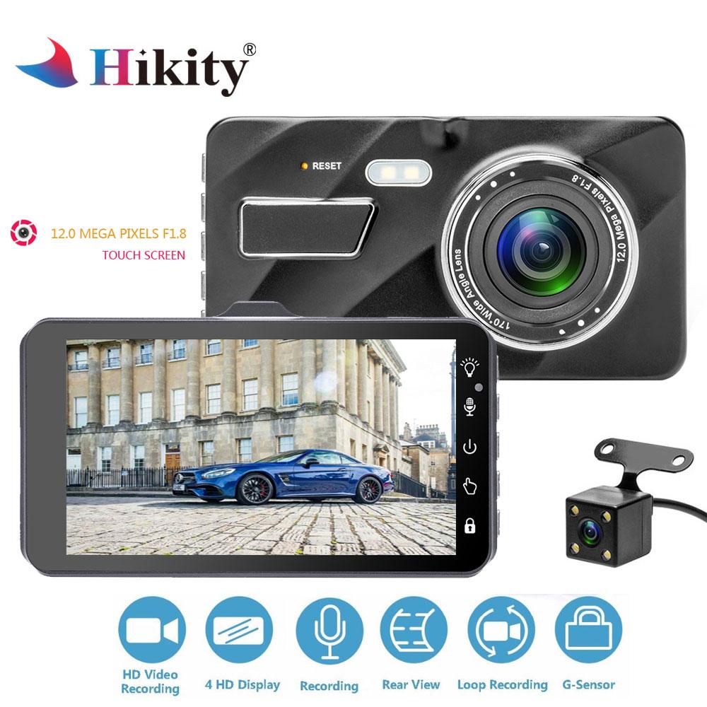 Hikity 4 IPS Dual Lens Touch Screen Car Dashcam Vehicle Driving DVR Camera Recorder G-Sensor Night Vision Black Box Registrator цена
