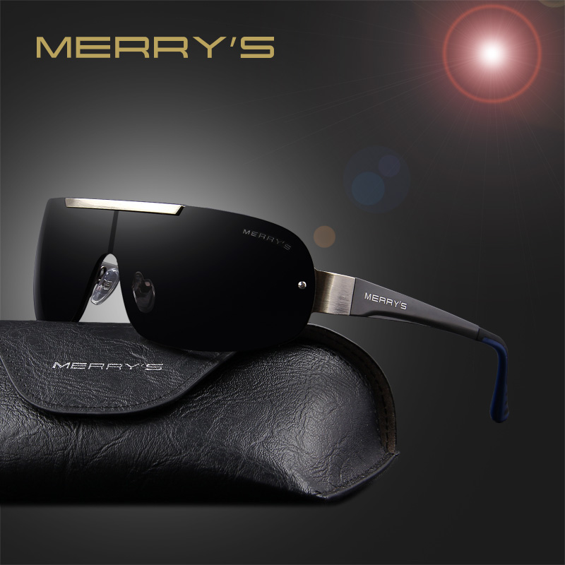 MERRY'S Fashion Classic Polarized Solglasögon Män Brand Designer HD Goggle Mäns Integrerade Glasögon Solglasögon UV400 S'8616