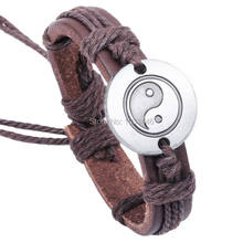 Pulseras Cuero Pulseira Masculino Genuine Leather Braided Yin Yang Bracelet Male Simple Bracelet Lace Up Women Pulceras(China)
