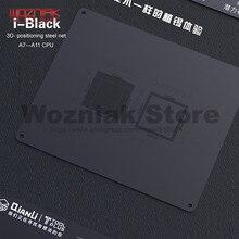 QIANLI 3D Tin szablon sadzenia dla IPHONE A7 A8 A9 A10 A11 CPU czcionki górny i dolny poziom konserwacji siatki czarna stalowa siatka