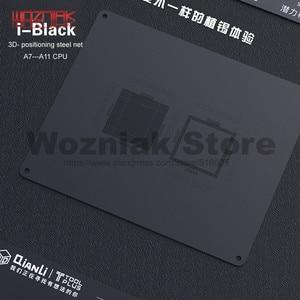 Image 1 - Qianli 3D Tin Planten Template Voor Iphone A7 A8 A9 A10 A11 Cpu Lettertype Bovenste En Onderste Niveaus Onderhoud Mesh zwart Staal Netto