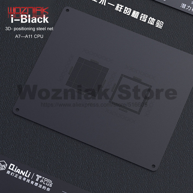 Qianli 3D Tin Planten Template Voor Iphone A7 A8 A9 A10 A11 Cpu Lettertype Bovenste En Onderste Niveaus Onderhoud Mesh zwart Staal Netto