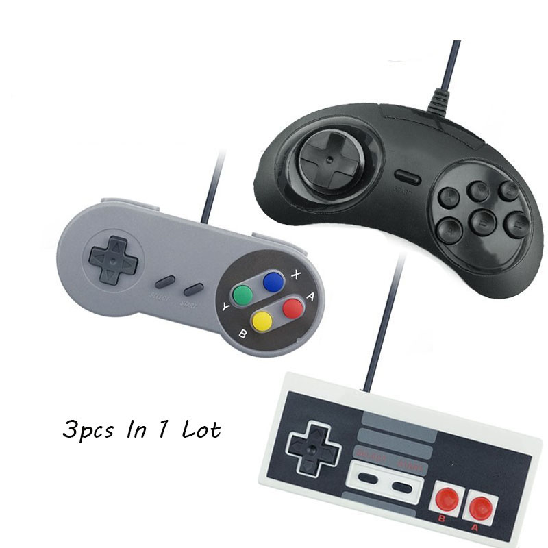 VPLAY 3Pcs Wired USB Joystick For Snes USB PC Gamepad Gaming For Nes For Sega Controller Game Joypad For PC Computer