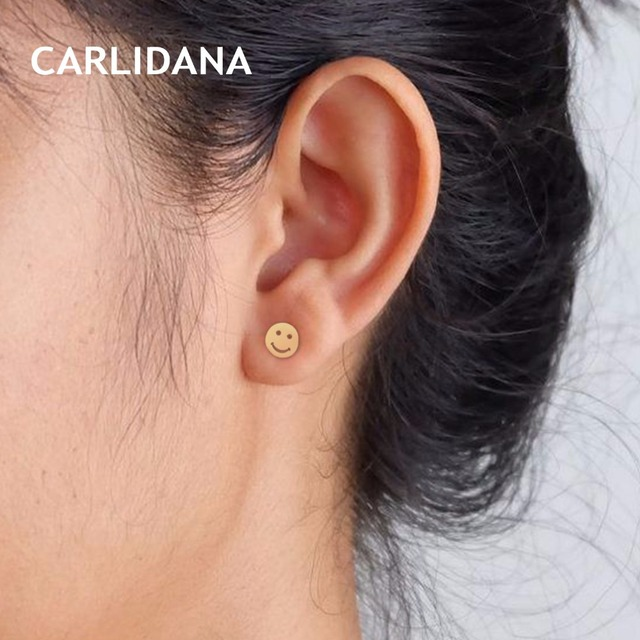 Smile Face Stud Earrings for Women Stainless Steel Classic Fashion Jewelry Gold Color Luxury Earrings Female Gifts CARLIDANA