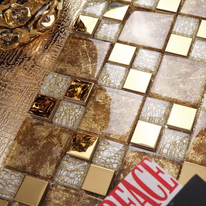 Oro mosaico de vidrio mezclado oro acero inoxidable - Cocina con pared de cristal ...