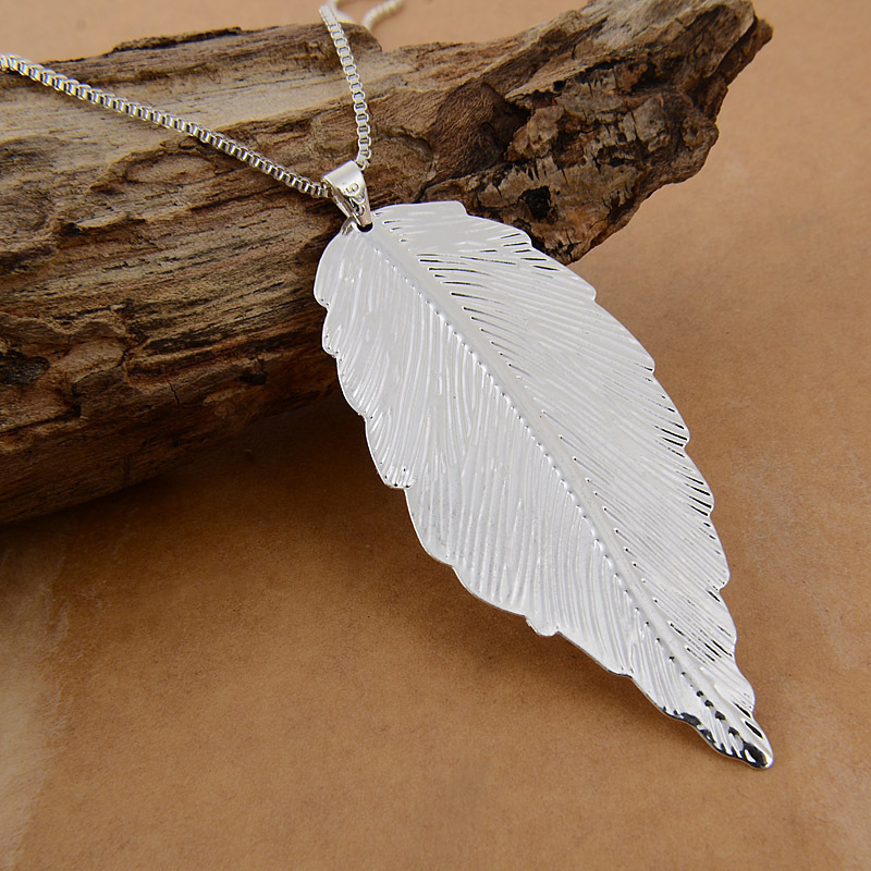 Sterling silver leaf pendant necklace necklaces pendants 925 sterling silver leaf pendant necklace with chain necklace led picture more detailed about 925 sterling mozeypictures Images