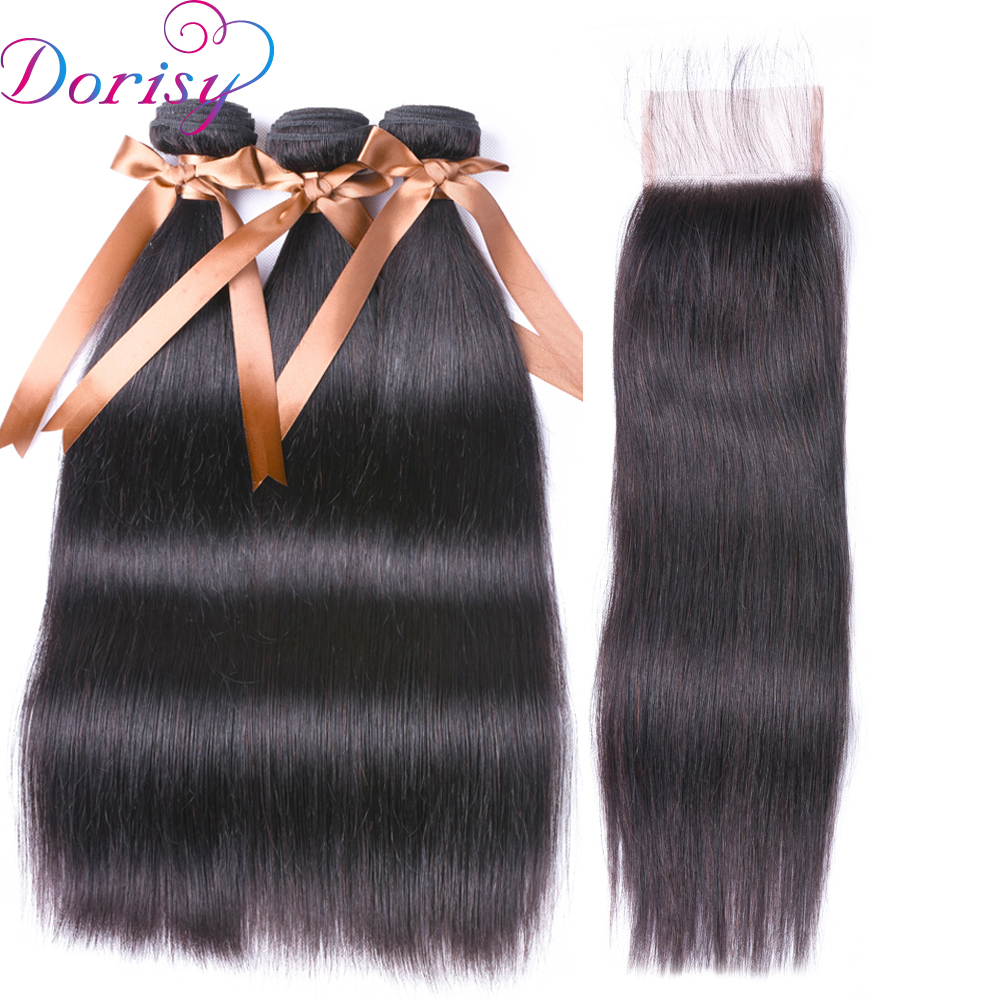 Dorisy Hair Lace Closure 4pcs Peruvian Straight Hair 3 Bundles With Closure Middle Part Swiss Lace Remy Human Hair Weave