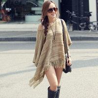 Women Pullover 2016 Female Spring Autumn Boho Style Design Long Sleeve Loose Knitting Cloak Sweater Knitwear