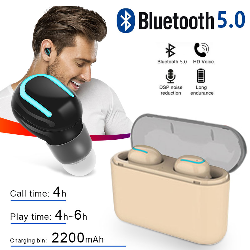 <font><b>U8</b></font> <font><b>TWS</b></font> Wireless Bluetooth Earphone V5.0 EDR Waterproof Stereo Earbud Headset Built-in Mic with Charging Box for Smart Phone image
