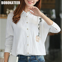 BOBOKATEER 2017 Shirt Women Blouses White Embroidery Blouse Long Sleeve Top Women Blusas Ladies Tops Plus