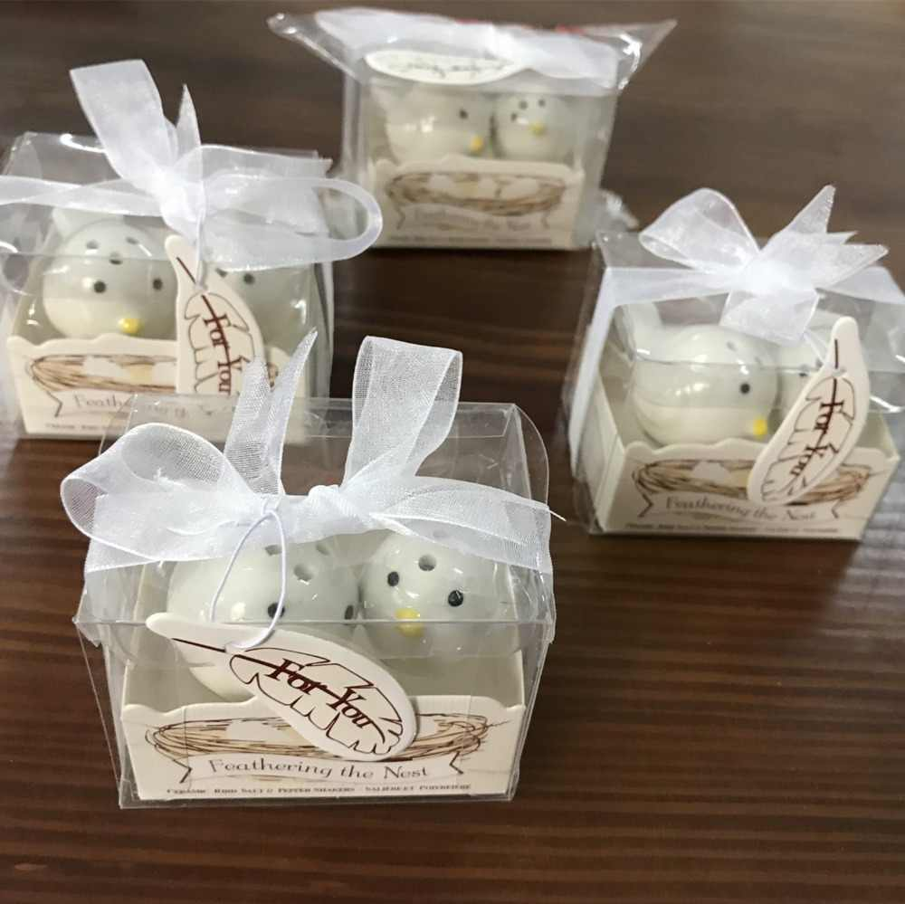 "Promotion Sale 10sets /lot Wedding favors Mini Ceramic ""Feathering the Nest"" Ceramic Birds Salt & Pepper Shakers"