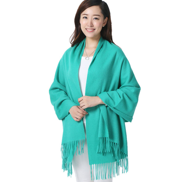 Lake Blue 100% Wool South Korea Solid Style Shawl Fashion Thick Winter New Women's Elegant Scarf Christmas Gift Size 70 x 200CM