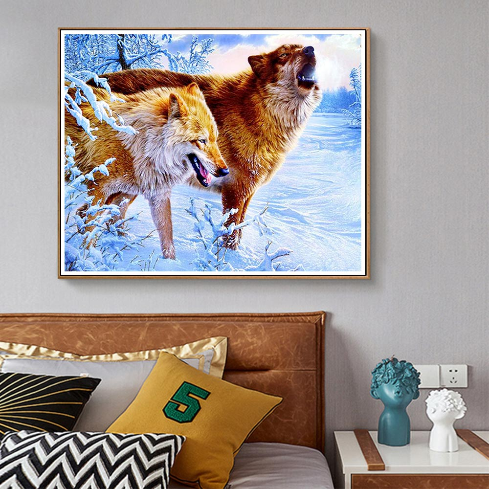 wolf animal Diamond Painting Full Round Snow scenic New DIY Sticking Drill Cross Embroidery 5D Decorative simple Home Decoration in Diamond Painting Cross Stitch from Home Garden