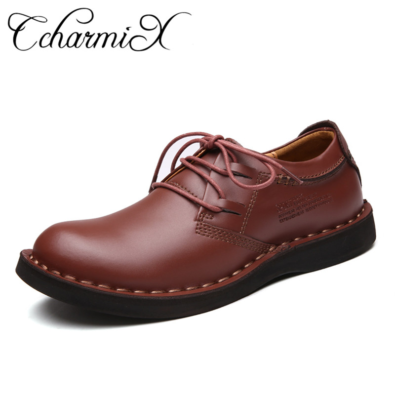 CcharmiX Genuine Leather Men Shoes Fashion Summer Autumn Comfortable Men Casual Shoes Mens Oxfords Lace Up Business Men Flats men summer increase leather shoes 6cm comfortable business casual black blue us9 5 lace up leather shoes cy712 2