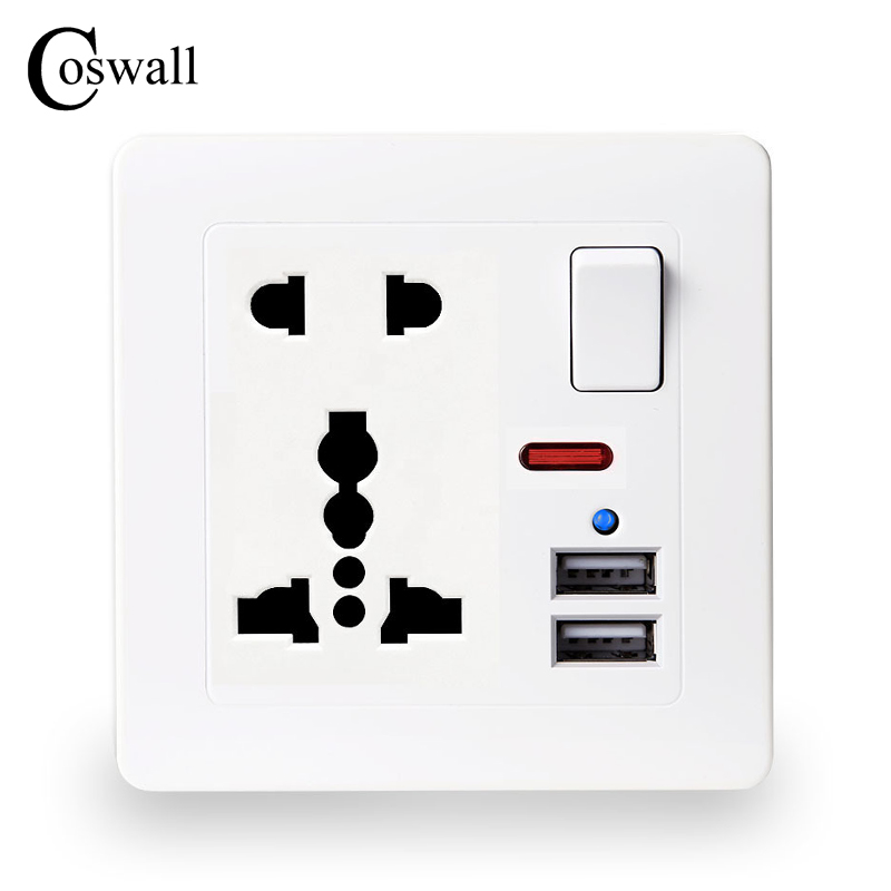 Coswall pared zócalo de energía 13A Universal 5 agujero cambió salida 2.1A Dual USB puerto del cargador del indicador LED
