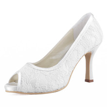 Wholesale & Retail Sweet Bridal Shoes 014-IP Ivory,White Peep Toe Spool Heel Platform 3.5inch Lace Women Wedding Pumps