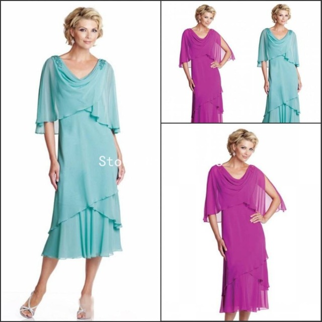 e7294f2dc7cc Summer Plus Size Dresses Mother Bride Beach Wedding Party Dress Chiffon Tea  Length Mother of the
