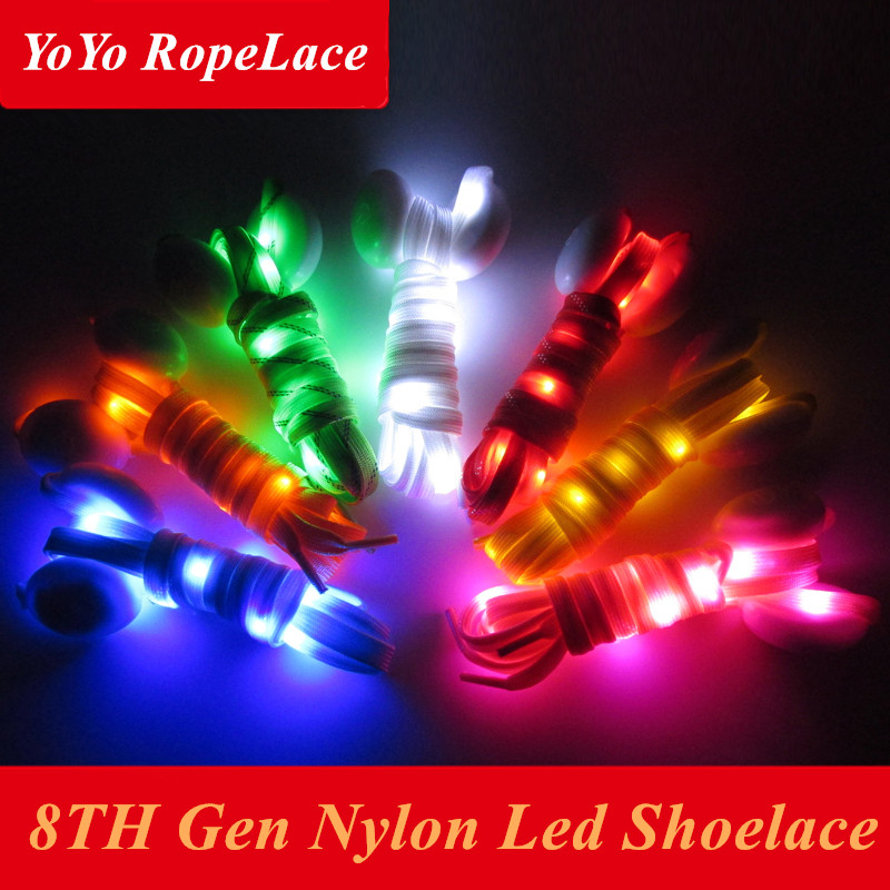 2018 Bestselling 8TH Generation Led Shoelaces Flash Neon Shoelace Flashing Luminous Nylon Led Shoe Lace for Shoes