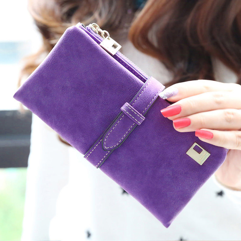 New Fashion Lady Women Wallet Purse Matte Drawstring Handbag PU Leather Solid Zipper Long Two Fold Clutch Card Money Holders