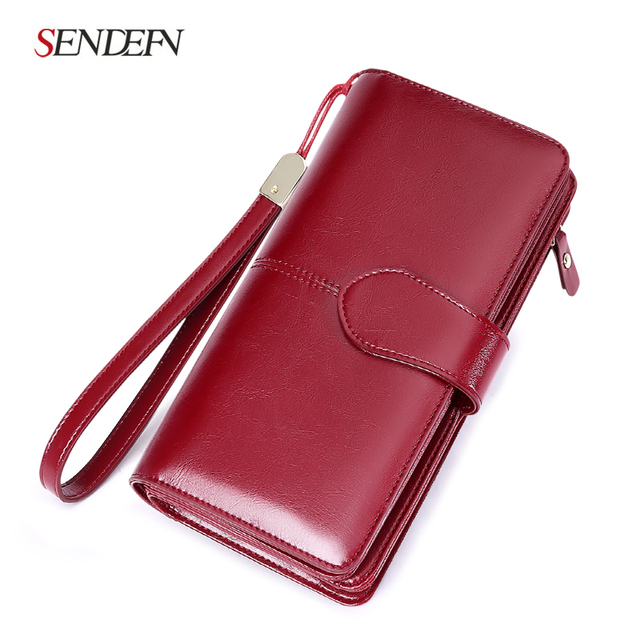 Hot Sale Brand Wallets Split Leather Female Long Wallet Women Zipper Large Capacity Purse with Strap Coin Purse For iPhone