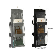 Bag storage hanging bag Wardrobe hanging fabric storage bag wall double-sided thick non-woven storage bag outdoor cycling non woven fabric bike top tube double storage bag black