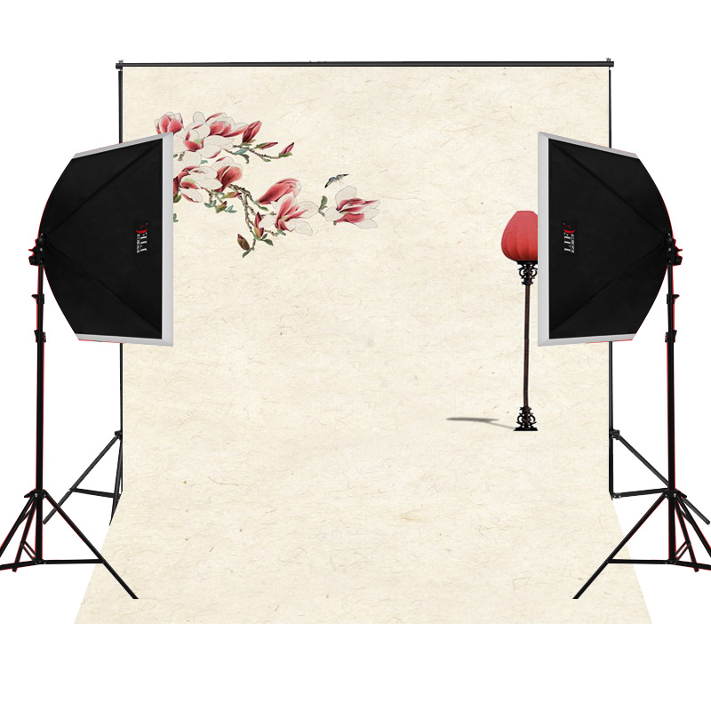 Red flower floor lamp scenic for kids photos camera fotografica studio vinyl photography background backdrop cloth digital props