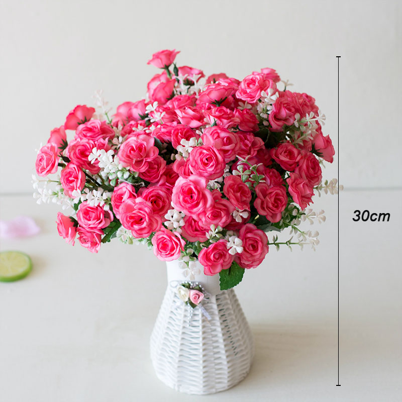 15 Head Mini Roses Artificial Flower With Green Leaves For Living Room And Desk Home 2