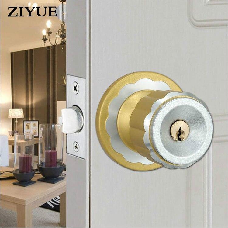 все цены на Free Shipping Round Spherical Door Lock Aluminium Alloy Pure Copper Lock Core онлайн