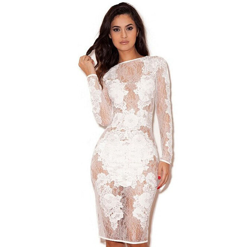 Wonder Beauty Elegant Lace See Through Bodycon Dress Women -5977