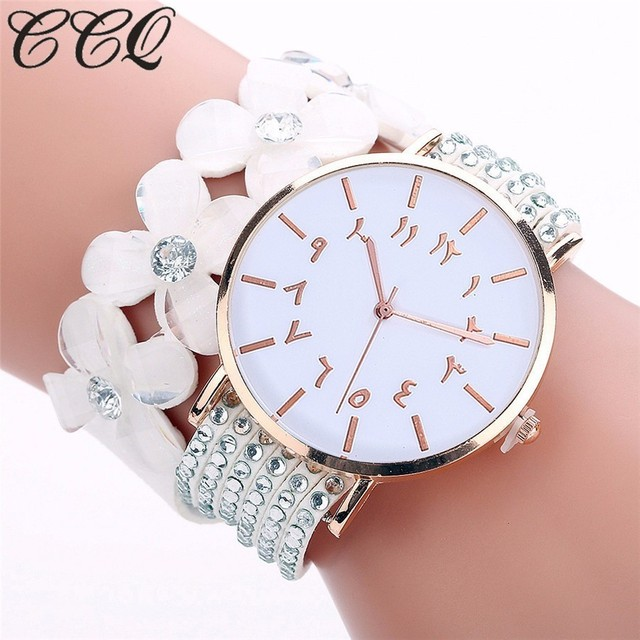 CCQ Fashion Arabic Numbers Pattern Watches Casual Women Bracelet Watch Crystal D
