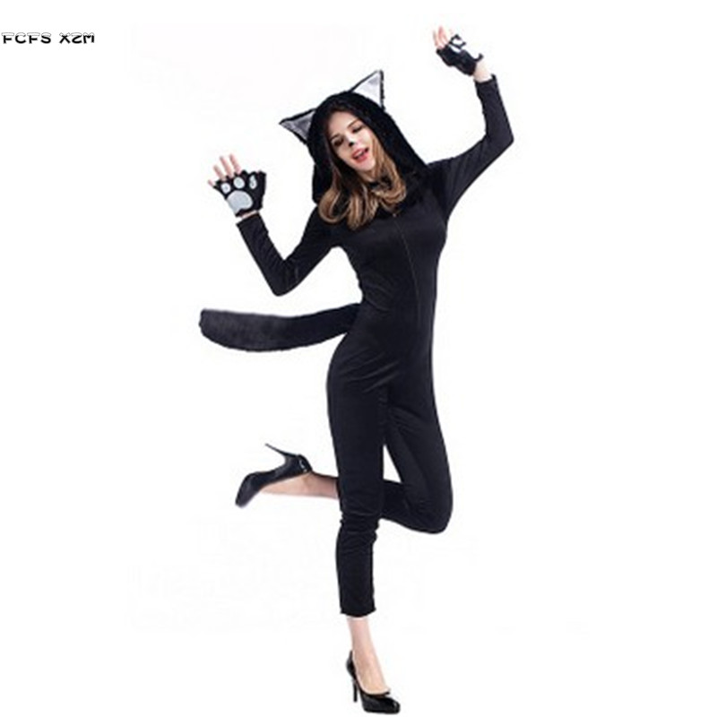 Female Black Cat Cosplay Woman Halloween Panda Costumes Winter Animal Kigurumi pajama Christmas Carnival Masquerade party dress