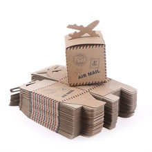 50PCS/set 6.3*6.3*6.3cm Airplane Gift Box Candy Box Kraft Paper Wedding Travel Theme Decoration Party Favors(China)