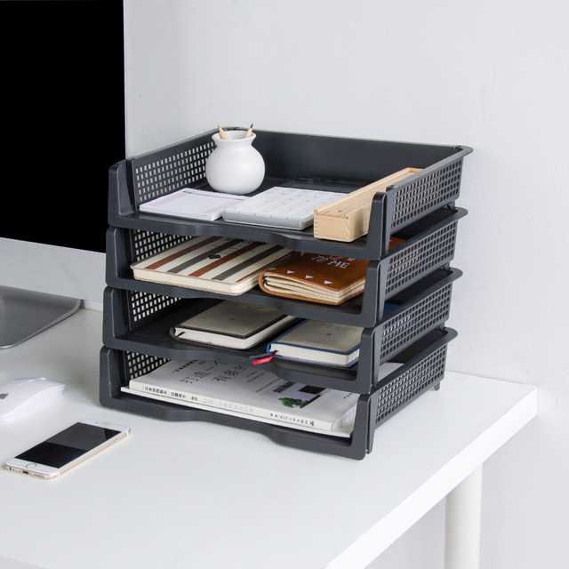 Bon Plastic Multilayer Office A4 Paper File Storage Rack Multi Function  Eco Friendly Desktop Stacked