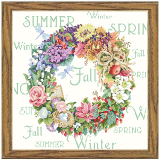 Needlework,DIY Cross Stitch,Sets For Embroidery kits,11CT&14CT&16CT&18CT,Four seasons wreaths