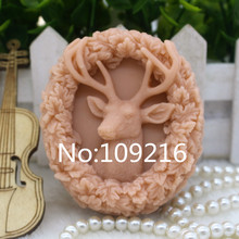 New Product!!1pcs David's Deer with Leaves Lace (zx288) Food Grade Silicone Handmade Soap Mold Crafts DIY Mould
