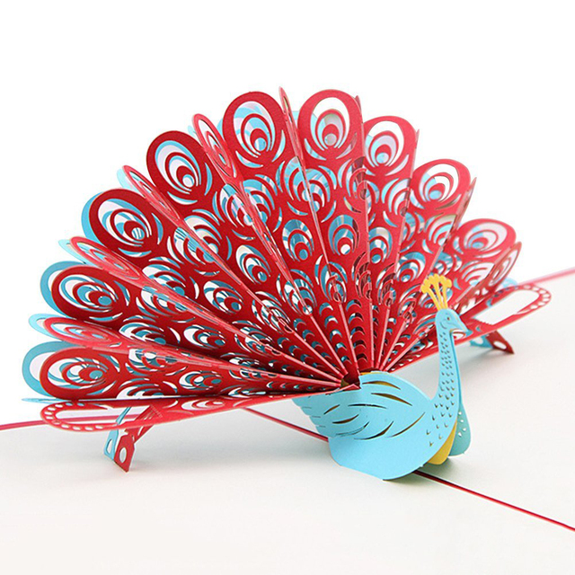 3D Peacock Pop Up Birthday Card For Wife Husband Kids Valentine Day Graduation Mothers Gift Greeting Red