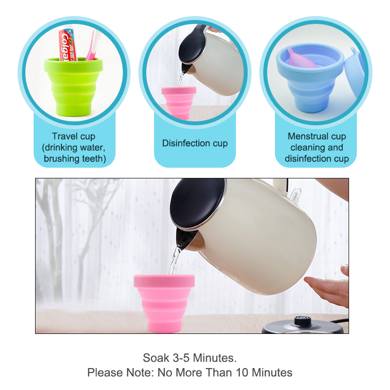 Menstrual sterilizing cup Recyclable flexible Collapsible Cup to clean Menstrual Cup  Camping Foldable Sterilize Cup