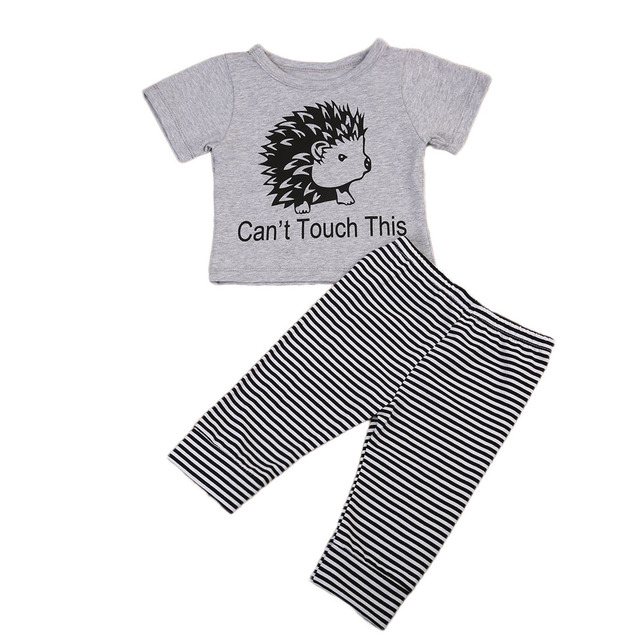 ec521f90b4ad 0-18M Newborn Baby Boy Girl Clothes Hedgehog Animal Print Short Sleeve  Cotton T-shirt Tops+Striped Pant Legging 2PCS Bebek Giyim