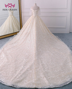 Image 3 - Long Royal Train Vintage Lace Wedding dress 2020 Short Flare Sleeve Pearls Beads Embroidery Ball Gown Wedding dresses WX0121