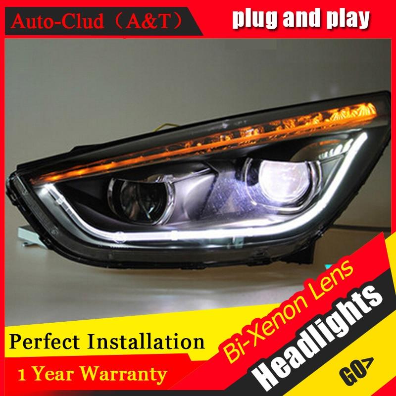 Auto Clud 2010-2013 For Hyundai ix35 headlights light car styling H7 xenon HID kit head lamps bi xenon lens parking car styling for hyundai ix35 headlights u angel eyes 2013 15 for hyundai ix35 led light bar q5 bi xenon lens led bulb projector