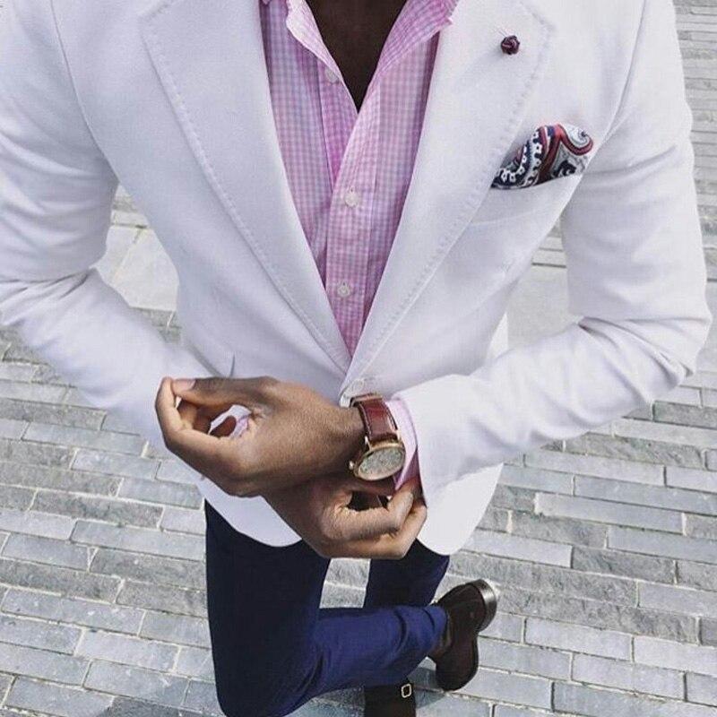 Tailor-made White Men Suits Navy Blue Pants Summer Beach Terno Masculino Slim Fit Costume Homme 2Piece Custom Man Blazer Jacket