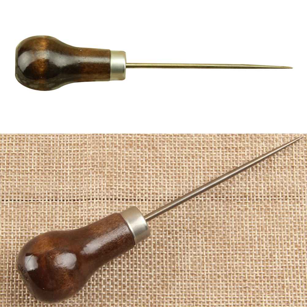 1Pc Professional Leather Wood Handle Awl Tools For Leathercraft Stitching Sewing image