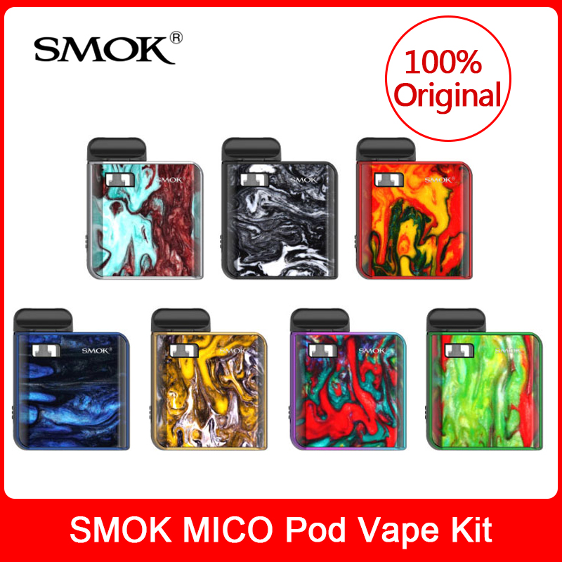 Original SMOK MICO Kit With Built In 700mAh Battery +Mesh/Regular Cartridge Coil E-Cigarette Mico Pod Vaporizer VS Novo Vape Pen